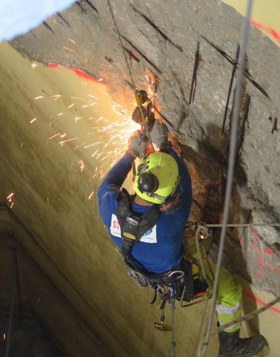 Réparation des bétons dans des caissons